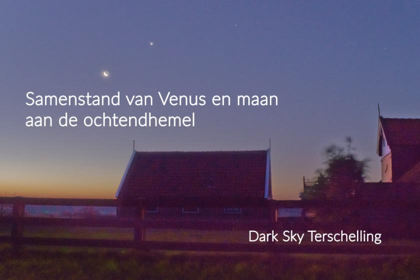 Samenstand van Venus en de maan boven boerderij in Oosterend, Terschelling