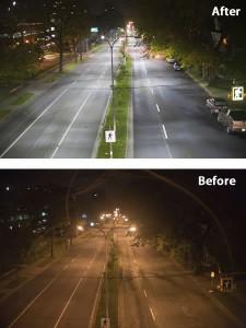 DarkSkyTerschelling: straatverlichting voor en na