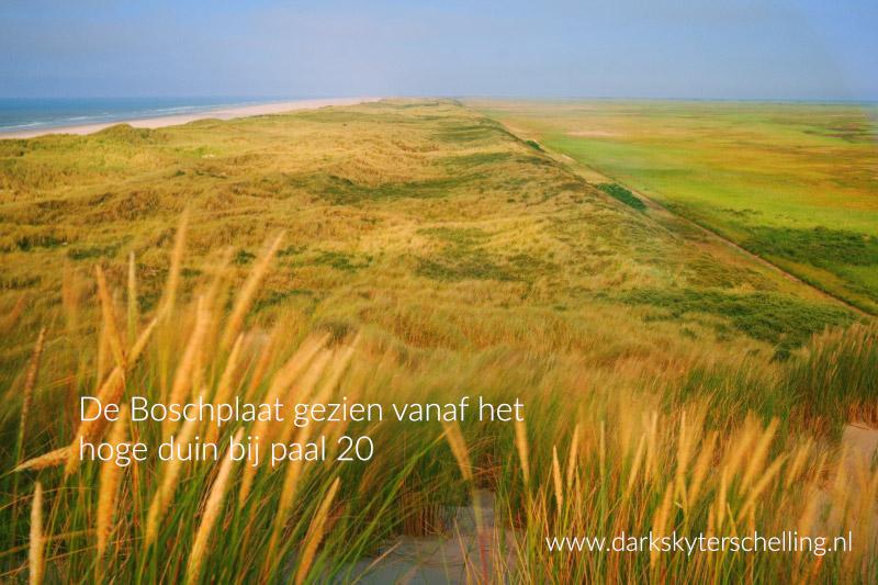 Dark Sky Terschelling - Natuurreservaat De Boschplaat gezien vanaf het hoge duin bij paal 20 op Terschelling.