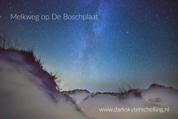 Melkweg gezien vanuit natuurgebied De Boschplaat op Terschelling