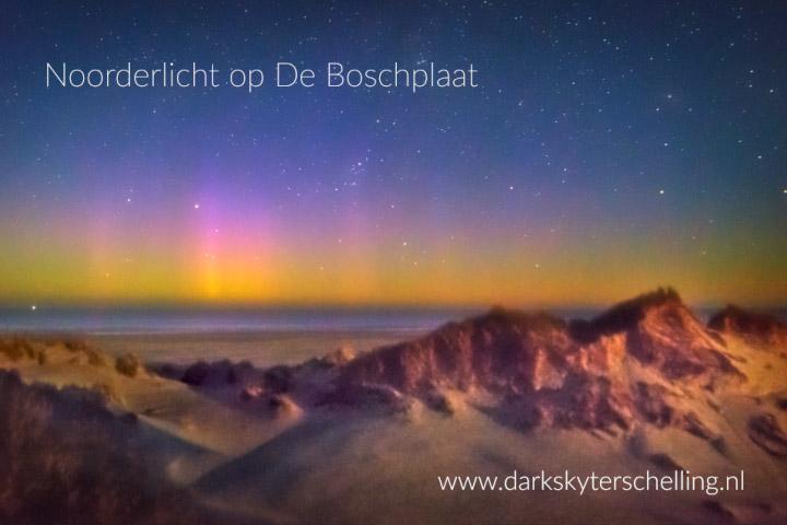 Noorderlicht (aurora borealis) op De Boschplaat van Terschelling.