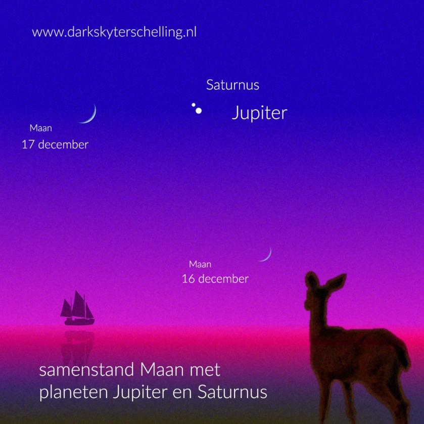 Dark Sky Terschelling - samenstand Maan, Jupiter en Saturnus in december 2020 aan de avondhemel.